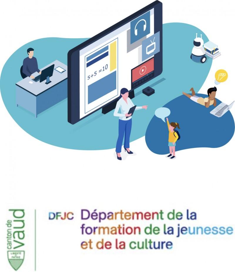 En-dessous de la salle de classe il y a le logo du DFJC ou Département de la formation, de la jeunesse et de la culture du canton de Vaud.