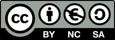 Le logo de Creative Commons BY (une personne) NC (le signe Euro barré) et SA (une flèche qui fait un 360°)