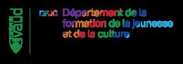 Le logo du canton de Vaud, en vert, à côté de logo très coloré et joyeux du Département de la formation, de la jeunesse et de la culture.