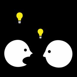 Partager une idée, on voit une personne qui pense une idée (une bulle et une ampoule allumée montre qu'il pense) et qui partage à quelqu'un d'autre (on voit sa figure) cette idée en la disant.