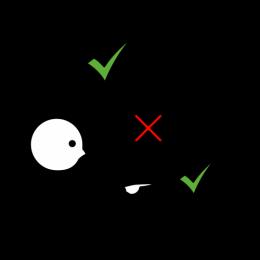 Ce pictogramme montre une personne qui réfléchit (un vu pour dire c'est correct est dans une bulle pensée). Il montre un vu correct (avec des traits autour pour montrer que c'est le point central) avec une flèche double qui va vers le symbole faux (une crois) et un point d'interrogation au-dessus de cette double flèche pour montrer qu'on réfléchit à la responsabilité, à la causalité.